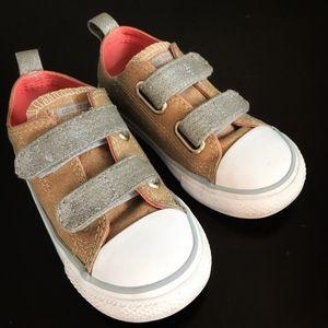Converse Gold Silver Glitter Velcro Sneakers
